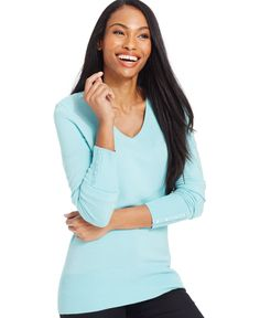 Jm Collection Petite V-Neck Button-Sleeve Sweater, Only at Macy's