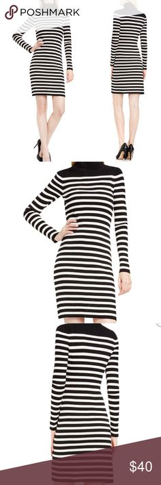 Vince Camuto Striped Turtleneck Dress Black White Vince Camuto Striped Turtleneck Dress Black White  Women's black white ribbed knit striped bodycon dress, stretch, long sleeves, cotton, above knee  Size: Medium and Large available   New with tags - NWT Vince Camuto Dresses