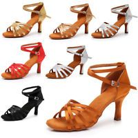 Brand New Women/'s Ballroom Latin Tango Dance Shoes Salsa 5 Colors  5//7cm Heels