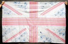 Union Jack Quilt from vintage sheets