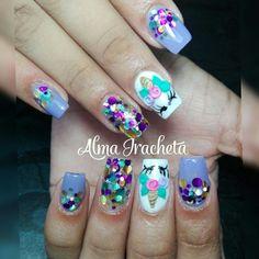 uñas 3d Nails, Cute Nails, Acrylic Nails, Nail Art For Kids, Cool Nail Art, Unicorn Nails Designs, White Nail Art, Toe Nail Designs, Bridal Nails