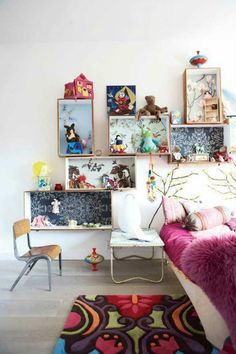 Creative and colourful shelves | 10 Super Stylish Storage Ideas for Kids Rooms - Tinyme Blog