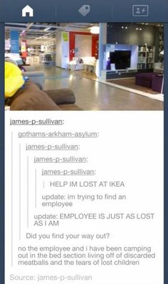 I would hate to be lost at Ikea. Those stores are just so big it would take years to get through them!
