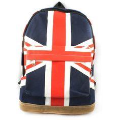 Vintage London Style Backpack Shoulder Bag Union Jack Knapsack... ($9.44) ❤ liked on Polyvore featuring bags, backpacks, sac, bags., canvas backpack, canvas rucksack, vintage rucksack, shoulder bag and canvas daypack