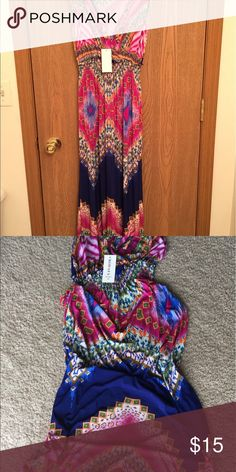 BODAFA BODOAFA long maxi dress. NWT. Very cute and colorful print. Has a v-neck. I bought it thinking I could wear it with wedges but it still too long and does not fit nice on the top part. Also has an elastic waist. Size S/M. Dresses Maxi