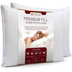 5 STARS UNITED Bed Pillows for Sleeping – – Mid Loft – Soft Fiber Fill – Hypoallergenic – Stripe Cotton Covers – Best Alternative to Feather and Down Bedding – Brians Bedding