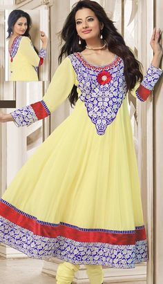 Buy Latest Indian Beautiful Traditional Yellow Georgette Anarkali Dresses  #AnarkaliDresses Link- http://alturl.com/yu9iq