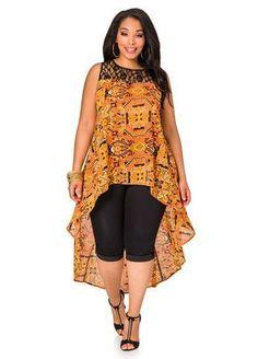 Lace Yoke Tribal Hi-low Blouse - Ashley Stewart African Print Dresses, African Print Fashion, Africa Fashion, African Fashion Dresses, African Attire, African Wear, African Women, African Dress, Fashion Prints