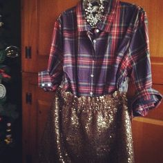 Not necessarily a fan of this exact outfit, but pairing a masculine plaid with something totally fem is completely genius.