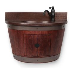 Buy the Premier Copper Products Whiskey Direct. Shop for the Premier Copper Products Whiskey Wall Mounted Wine Barrel Vanity Set Includes Built-In Copper Sink, Vanity Top, Backsplash, and Faucet with Grid Drain and save. Best Bathroom Vanities, Single Bathroom Vanity, Vanity Sink, Single Vanities, Bathroom Ideas, Wall Mounted Vanity, A 17, Amazing Bathrooms, Faucet