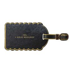 "- Color: Black - Leatherette tag with foil accents - Security feature - Measures: 2 1/2"" x 4 1/4"""