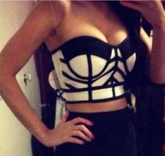 2014 New élastique gratuit tricoté J593 mesdames mode bretelles bandage crop Top noir dans Caracos de Accessoires et vêtements pour femmes sur AliExpress.com | Alibaba Group