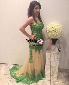 Wholesale Vestidos De Fiesta New 2017 Green Memraid Tulle Prom Dress With Beaded Lace Applique