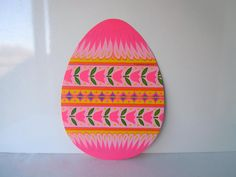 Large Vintage Easter Decorations Egg Hot Pink Spring Holiday Wall Hanging
