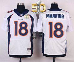 Nike Broncos  18 Peyton Manning White Super Bowl 50 Men s Stitched NFL New  Elite Jersey e14c0a702