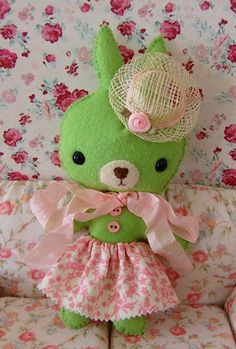 Pistachio the Sweet Green Easter Bunny Girl with her Easter Bonnet and Skirt, Handmade, Kawaii