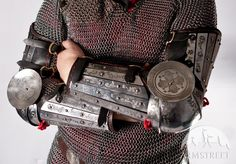 SCA medieval armor arms splinted full with etching
