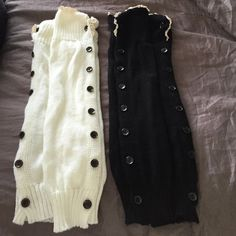 Leg Warmer Bundle Great deal on 2 pairs of Leg warmers. Black with cream lace and white with cream lace. Both have buttons down each side. Smoke free home. Other
