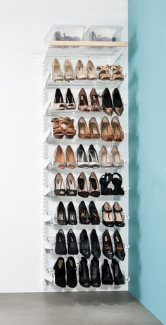This ultimate shoe storage solution from our modular elfa decor range fits neatly into a cupboard, wardrobe or wall space and comes with enough triple gliding shoe racks to store up to 72 pairs of heeled shoes. Closet Shoe Storage, Stair Storage, Shoe Closet, Diy Storage, Shoe Racks, Shoe Wardrobe, Shoe Storage Solutions, Shelving Solutions, Craft Storage Ideas For Small Spaces