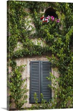 Walter Bibikow Premium Thick-Wrap Canvas Wall Art Print entitled Italy, Brescia Province, Sirmione. Window detail, None