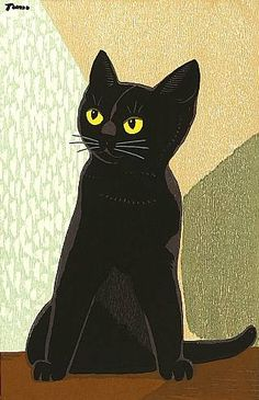Inagaki Tomoo, Black Cat, Ca. Japanese Prints, Japanese Art, Japanese Painting, Crazy Cat Lady, Crazy Cats, I Love Cats, Cool Cats, Black Cat Art, Black Cats