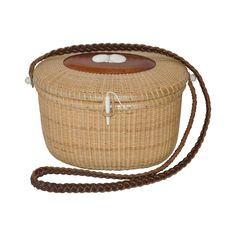 Nantucket Style Hand-Weave Wicker Shoulder Bag | See more vintage Shoulder Bags at https://www.1stdibs.com/fashion/handbags-purses-bags/shoulder-bags in 1stdibs