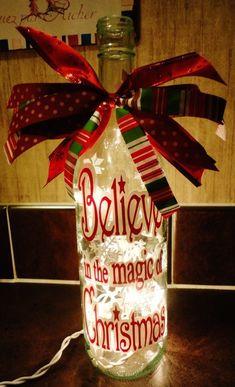 Christmas Wine Bottle Light Monogrammed - DIY and Crafts Wine Bottle Art, Painted Wine Bottles, Lighted Wine Bottles, Bottle Lights, Wine Bottle Crafts, Glass Bottles, Bottle Bottle, Empty Bottles, Wine Glass
