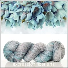 Expression Fiber Arts, Frosted Freesia yarn! Luster merino tencel sport weight - silver and aqua