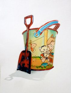 Vintage Tin Pail and Red Shovel Watercolor