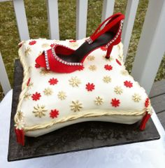 Pillow cake and gumpaste shoe - buttercream iced cake and gumpaste shoe