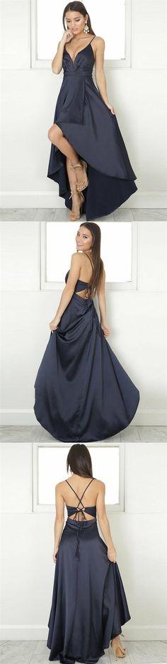 3618b69f2400d A-Line V-Neck Sleeveless High-Low Dark Navy Stretch Satin Prom Dress