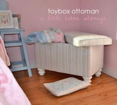 I want to make this!  DIY Furniture Plan from Ana-White.com  Toybox by day, cozy reading spot by night. This toybox ottoman features a lift off lid and a large storage compartment. Use caster wheels to create a moving seating surface and toybox in one.