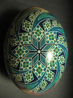 "Pysanka egg with stars and swirls. A note on pronunciation, despite what you may have heard on television, a supplier of pysanky tools or from an instructor in a local class, ""Pysanka"" is correctly pronounced ""Pih-sahn-kah""  with the plural ""Pih-sahn-kih"". All with short vowels.  The term ""pysanky"" is not, never was, nor will it ever be correctly pronounced ""pie-SAN-kee or pizz-an-ki"""