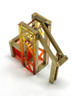 House Model-brass/milling/cold joint/acrylic dyeing/ladder/kinetic