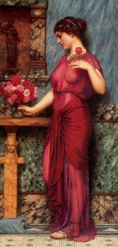 """""""Lady in Red"""" (could be William Waterhouse?)"""