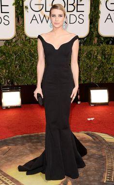Emma Roberts from 2014 Golden Globes: Red Carpet Arrivals  In Lanvin