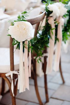 Ribbon and Vine-Trimmed Sweetheart Chairs