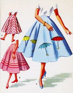 "1950s Misses' Skirt Vintage Sewing Pattern, Circle Skirt, Rockabilly, Umbrella Applique, McCall's 3591 waist 26"" uncut. $14.00, via Etsy."