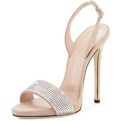 Giuseppe Zanotti Coline Crystal 110mm Sandal ($995) ❤ liked on Polyvore featuring shoes, sandals, heels, giuseppe zanotti, pallido, crystal shoes, crystal heel shoes, open toe shoes and high heeled footwear