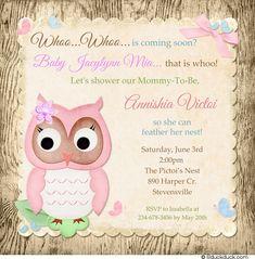 owl baby shower girl | Woodsy Pink Owl Shower Invitation - Little Girl Baby Pretty Bluebirds