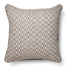 """• 100% cotton construction<br>• 100% polyester fill<br>• Diamond pattern<br>• Piping detail<br>• 18x18""""<br>• Spot clean<br><br>Add a chic look to your living room or bedroom with the Threshold Neutral Diamond Stripe Throw Pillow. The floral pattern is visually appealing and the thick fill has a luxe feel. This pillow is the perfect combination of comfort and style."""