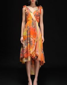 Classic Orange Floral-print Casual Midi Dress