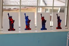 Painting with a Pom and clothes pin to help with fine motor control. Encourage the student to make the pom jump lightly on the page. The end result of this lesson, an awesome Statue of Liberty painting done with a stencil. Great for celebrating the 4th of July.