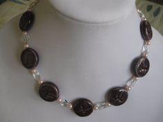 Dark Purple Porcelain Necklace with Earrings by DesignsbyGlynis, $14.00