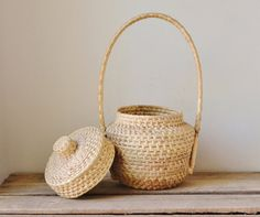 Woven Basket with Handle and Lid by RawRevivals on Etsy