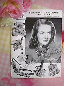Vintage-1940-039-s-Felt-Craft-Pattern-For-Felt-Brooches-amp-Necklaces