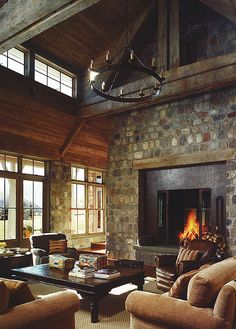 Rustic elegance fireplace/I like the rock on this fire place Cabin Homes, Log Homes, Boho Home, Deco Design, Rustic Elegance, Home Living Room, Barn Living, Great Rooms, My Dream Home
