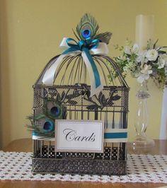 peacock  theme wedding card holder | ... listing for Melanie Bates for a Large Peacock Birdcage Card Holder