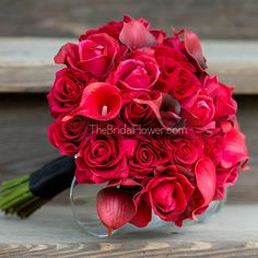 Red roses calla lilies real touch wedding by TheBridalFlower