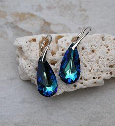 Blue Swarovski teardrop pendant sterling by KarmaKittyJewelry